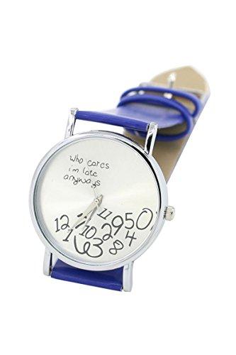 Armbanduhr SODIAL R Who Cares Im Late Anyways Buchstaben Arabische Ziffern gedruckte Armbanduhr Blau