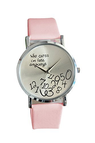 Armbanduhr SODIAL R Who Cares Im Late Anyways Buchstaben Arabische Ziffern gedruckte Armbanduhr Rosa