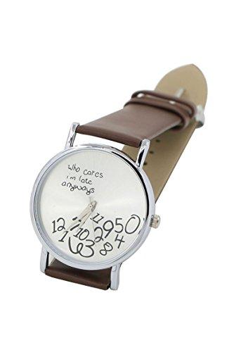 Armbanduhr SODIAL R Who Cares Im Late Anyways Buchstaben Arabische Ziffern gedruckte Armbanduhr Braun