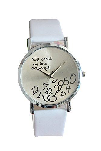 Armbanduhr SODIAL R Who Cares Im Late Anyways Buchstaben Arabische Ziffern gedruckte Armbanduhr Weiss