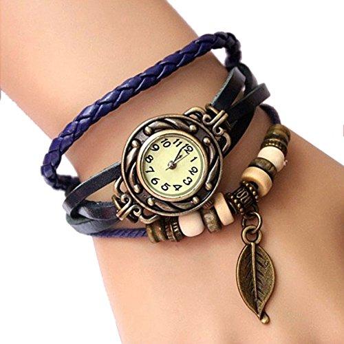 Armbanduhr SODIAL R Damen Retro Baum Blatt Leder Armkette Armband Armbanduhr Uhren Uhr Watches Dunkelblau