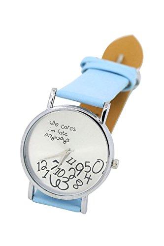 Armbanduhr SODIAL R Who Cares Im Late Anyways Buchstaben Arabische Ziffern gedruckte Armbanduhr Hellblau