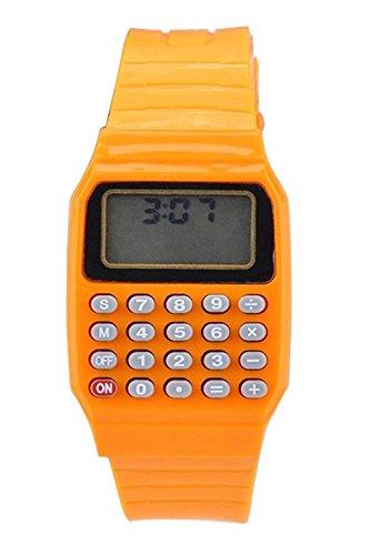 Armbanduhr SODIAL R Jungen Maedchen Silikon Datumsanzeige elektronische Uhr Multifunktions Rechner Uhr Taschenrechner Uhr fuer Kinder Orange