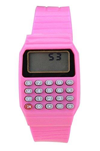 Armbanduhr SODIAL R Jungen Maedchen Silikon Datumsanzeige elektronische Uhr Multifunktions Rechner Uhr Taschenrechner Uhr fuer Kinder Rosa