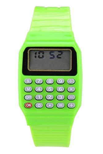Armbanduhr SODIAL R Jungen Maedchen Silikon Datumsanzeige elektronische Uhr Multifunktions Rechner Uhr Taschenrechner Uhr fuer Kinder Gruen