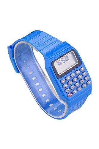 Armbanduhr SODIAL R Jungen Maedchen Silikon Datumsanzeige elektronische Uhr Multifunktions Rechner Uhr Taschenrechner Uhr fuer Kinder Blau
