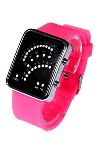 Armbanduhr SODIAL R Unisex Fan Form 29 Blau LED Anzeige fuer Digital Datum Silikon Band Armband Uhr fuer Herren und Damen Roserot