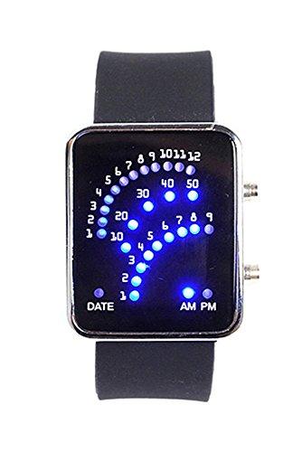 Armbanduhr SODIAL R Unisex Fan Form 29 Blau LED Anzeige fuer Digital Datum Silikon Band Armband Uhr fuer Herren und Damen Schwarz