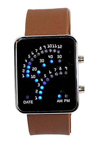 Armbanduhr SODIAL R Unisex Fan Form 29 Blau LED Anzeige fuer Digital Datum Silikon Band Armband Uhr fuer Herren und Damen Kaffee