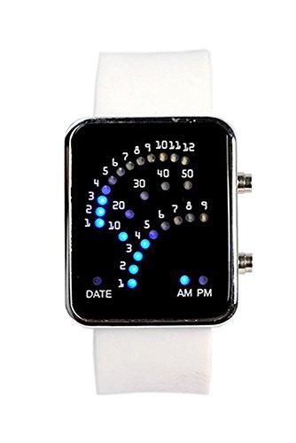 Armbanduhr SODIAL R Unisex Fan Form 29 Blau LED Anzeige fuer Digital Datum Silikon Band Armband Uhr fuer Herren und Damen Weiss