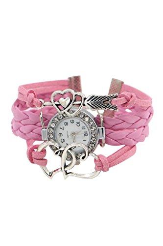 Armbanduhr SODIAL R Damen geflochtenen Seil Doppel Liebe Kunstleder Band Armreifuhr elegant Rosa