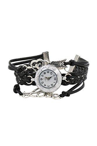 Armbanduhr SODIAL R Damen geflochtenen Seil Infinity Love Kunstleder Band Armreifuhr elegant Schwarz