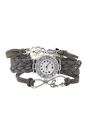 Armbanduhr SODIAL R Damen geflochtenen Seil Infinity Love Kunstleder Band Strass Armreifuhr elegant Grau