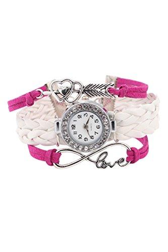 Armbanduhr SODIAL R Damen geflochtenen Seil Infinity Love Kunstleder Band Strass Armreifuhr elegant Rosarot und Weiss