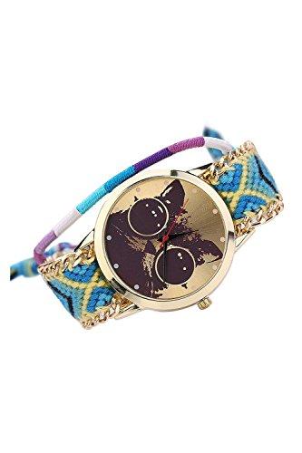 Armbanduhr SODIAL R Frauen Handgefertigt ethnisches Katzenmuster gestrickt gewebte Seil Band Analog Mode 5