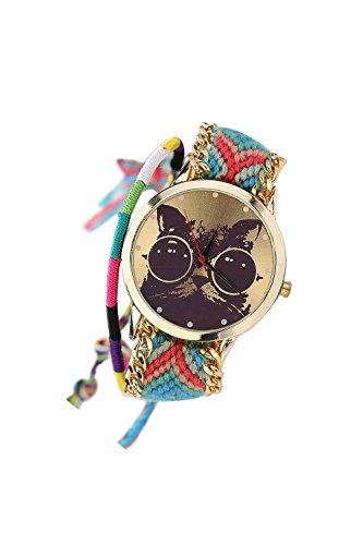 Armbanduhr SODIAL R Frauen Handgefertigt ethnisches Katzenmuster gestrickt gewebte Seil Band Analog Mode 3