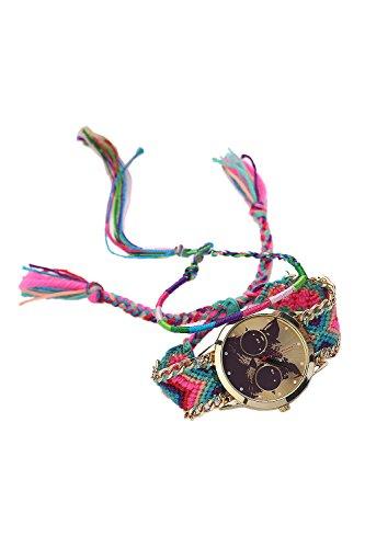 Armbanduhr SODIAL R Frauen Handgefertigt ethnisches Katzenmuster gestrickt gewebte Seil Band Analog Mode 10