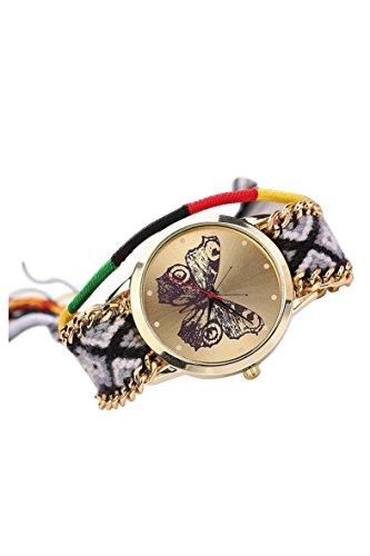 Armbanduhr SODIAL R Damen Handmade Handgefertigt schoen Schmetterling Muster gestrickt gewebte Seil Band Analog Modus 4