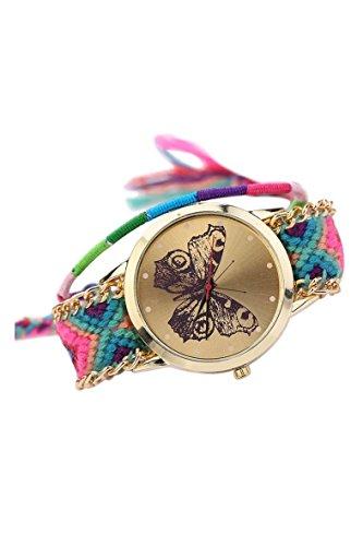 Armbanduhr SODIAL R Damen Handmade Handgefertigt schoen Schmetterling Muster gestrickt gewebte Seil Band Analog Modus 10