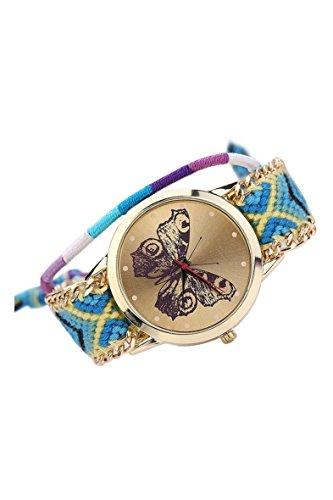 Armbanduhr SODIAL R Damen Handmade Handgefertigt schoen Schmetterling Muster gestrickt gewebte Seil Band Analog Modus 5
