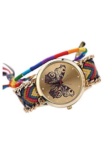 Armbanduhr SODIAL R Damen Handmade Handgefertigt schoen Schmetterling Muster gestrickt gewebte Seil Band Analog Modus 11