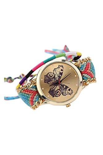 Armbanduhr SODIAL R Damen Handmade Handgefertigt schoen Schmetterling Muster gestrickt gewebte Seil Band Analog Modus 3