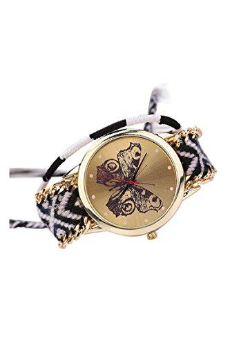 Armbanduhr SODIAL R Damen Handmade Handgefertigt schoen Schmetterling Muster gestrickt gewebte Seil Band Analog Modus 9