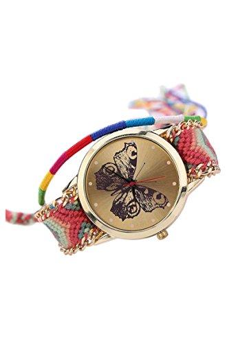 Armbanduhr SODIAL R Damen Handmade Handgefertigt schoen Schmetterling Muster gestrickt gewebte Seil Band Analog Modus 1