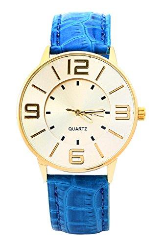 Armbanduhr SODIAL R Krokoband Doppel Ebene Unisex Grosses Zifferblatt Armbanduhr Blau