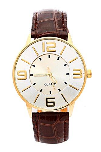Armbanduhr SODIAL R Krokoband Doppel Ebene Unisex Grosses Zifferblatt Armbanduhr Braun