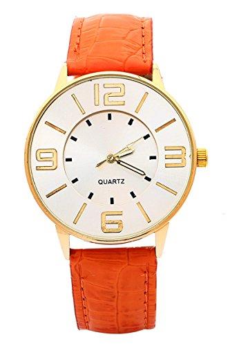 Armbanduhr SODIAL R Krokoband Doppel Ebene Unisex Grosses Zifferblatt Armbanduhr Orange