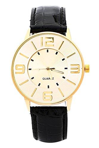 Armbanduhr SODIAL R Krokoband Doppel Ebene Unisex Grosses Zifferblatt Armbanduhr Schwarz