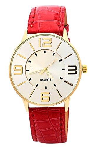 Armbanduhr SODIAL R Krokoband Doppel Ebene Unisex Grosses Zifferblatt Armbanduhr Rot