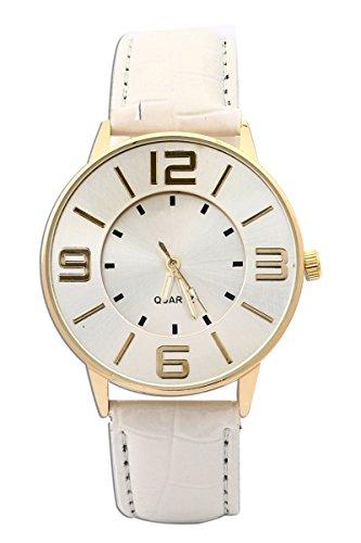 Armbanduhr SODIAL R Krokoband Doppel Ebene Unisex Grosses Zifferblatt Armbanduhr Weiss