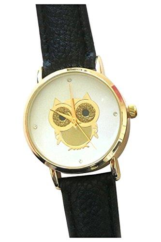 Armbanduhr SODIAL R Eule Armbanduhr Damen Eule Kunstleder Armband Beilaeufige Armbanduhr Schwarz