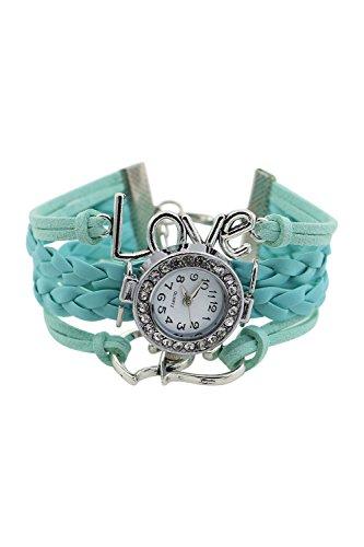 Armbanduhr SODIAL R Maedchen Stricken Kunstleder Band Liebes Herz Charme Glass Armbanduhr Hellblau