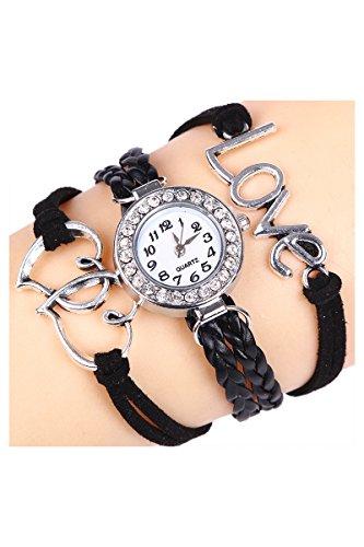 Armbanduhr SODIAL R Maedchen Stricken Kunstleder Band Liebes Herz Charme Glass Armbanduhr Schwarz