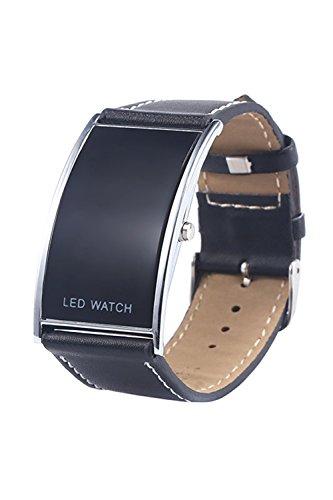 Armbanduhr SODIAL R Maenner Frauen Bogen Form LED Digital Datumsanzeige Kunstleder Armband Trend Armbanduhr Schwarz