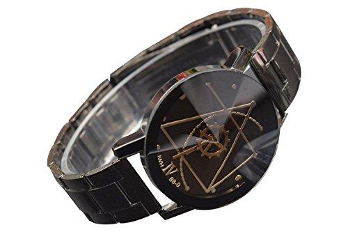 Armbanduhr SODIAL R Mode fuer Maenner Luxus Kompass Edelstahl Quarz Analoge Armbanduhr des Geliebten Uhr Schwarz L