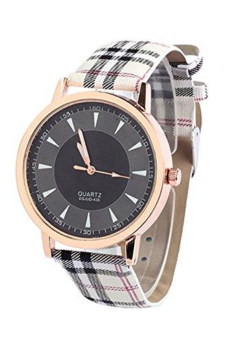 Armbanduhr SODIAL R Retro Unisex Frauen und Maenner Kunstleder Armbanduhr mit Lattice Gurt Quarz Uhr Schwarz