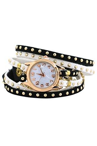 Armbanduhr SODIAL R Frauen mehrschichtige Niet Kunstleder Verpackungs Armbanduhr Schwarz Weiss