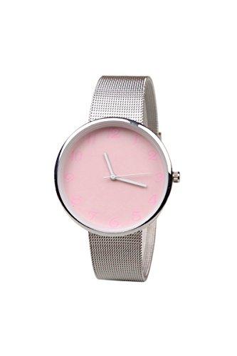 Armbanduhr SODIAL R Minimalismus edelstahl Fashion Analog Wrist Watch Rosa