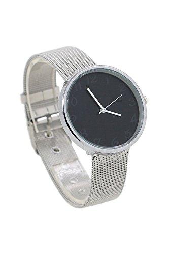 Armbanduhr SODIAL R Minimalismus edelstahl Fashion Analog Wrist Watch Schwarz