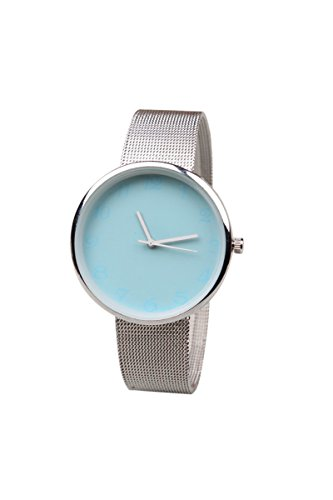 Armbanduhr SODIAL R Minimalismus edelstahl Fashion Analog Wrist Watch Blau