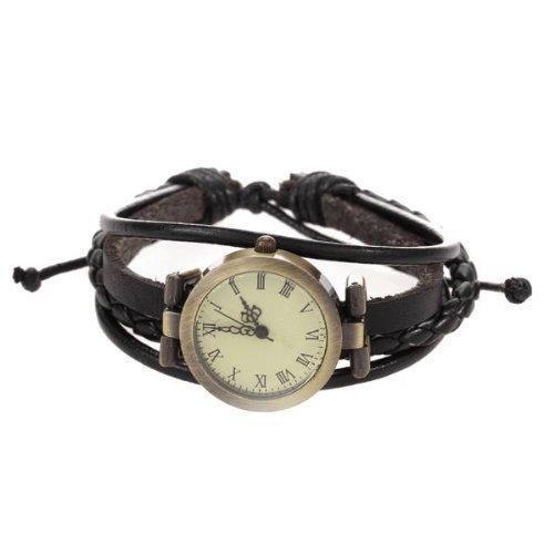 Uhr Armbanduhr Quarzuhren Quarz Damen Herren Watch Geflochten PU Unisex Schwarz