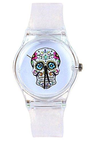 Armbanduhr SODIAL R Schaedel Zifferblatt transparenten Silikon Armbanduhr
