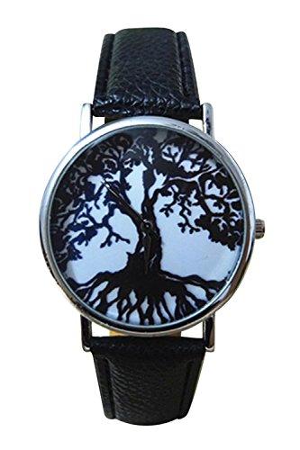 Armbanduhr SODIAL R Schwarz Leben Baum Muster runden Zifferblatt Kunstleder Armbanduhr