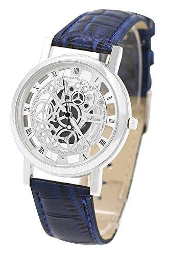 Armbanduhr SODIAL R Damen Herren Skelett Uhr Kunstleder Armband Analog Sport Blau band Silber Zifferblatt