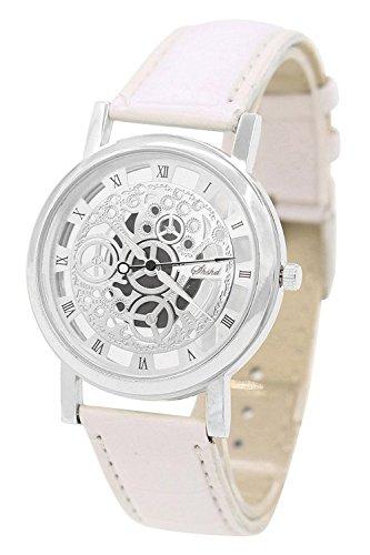 Armbanduhr SODIAL R Damen Herren Skelett Uhr Kunstleder Armband Analog Sport Weiss band Silber Zifferblatt
