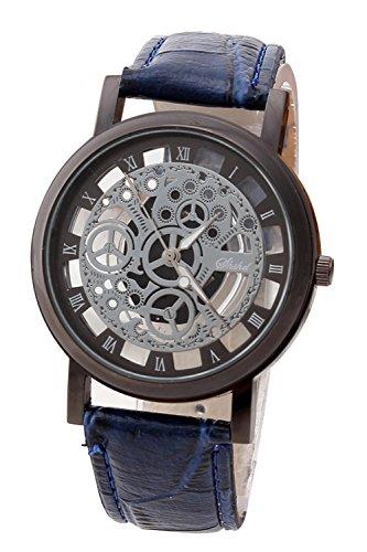 Armbanduhr SODIAL R Damen Herren Skelett Uhr Kunstleder Armband Analog Sport Blau band Schwarz Zifferblatt